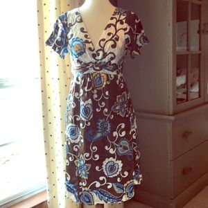 Voom 100% silk brown blue and white dress